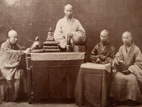 Zen Monks, Albumen Photograph, Circa 1880.