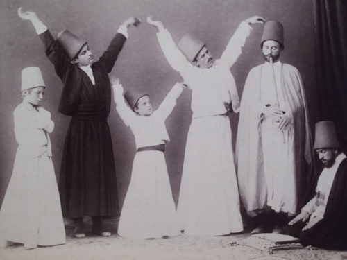 Sufi Whirling Dervishes, Albumen Photograph, Circa 1880.