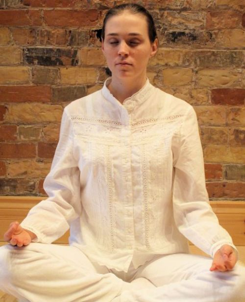 Sitting Using Gyan Mudra
