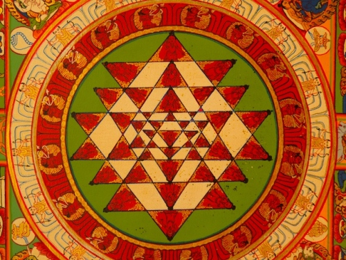 Sri Yantra Detail from Tibetan Thangka, 2007, from Mcleod Ganj.